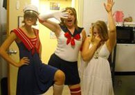 In preparation for an ocean-themed party, here is my best friend Bri in the middle as Sailor Moon. I was dressed as Ophelia, because of course the English major dressed as Ophelia.